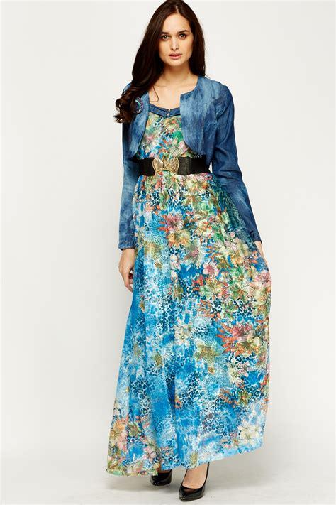 Dress Santai Floral Denim floral mesh contrast denim jacket dress just 163 5