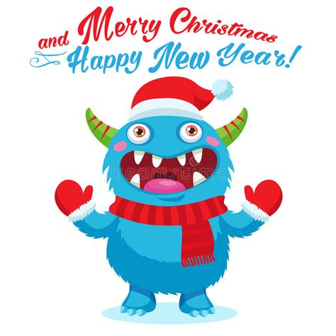 cute christmas monster vector card holiday cartoon mascot merry christmas happy  year