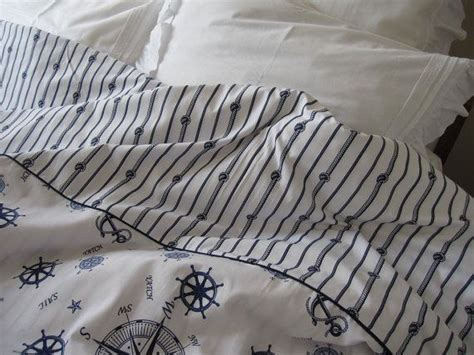 nautical bedding king size duvet cover navy stripes anchor shabby chi