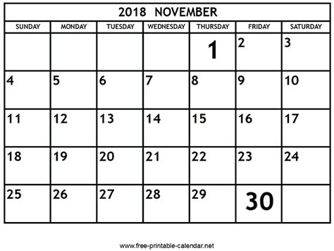 printable calendar november 2018 printable november 2018 calendar download print