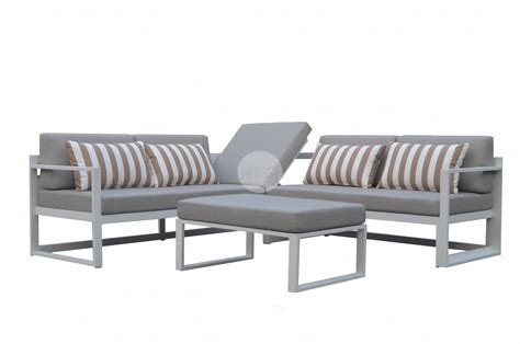 grey outdoor sofa outdoor adler corner lounge white aluminum frame and