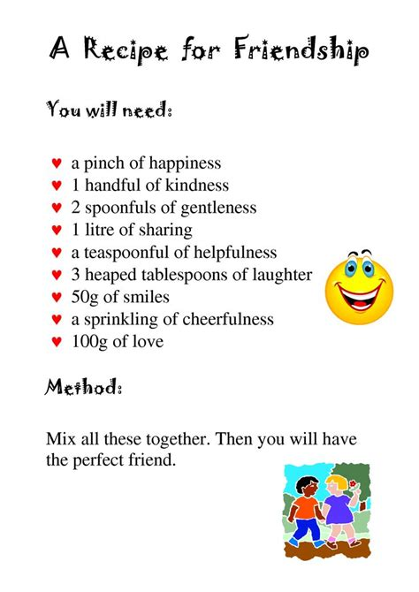 recipe for friendship template pin by amanda dair on work