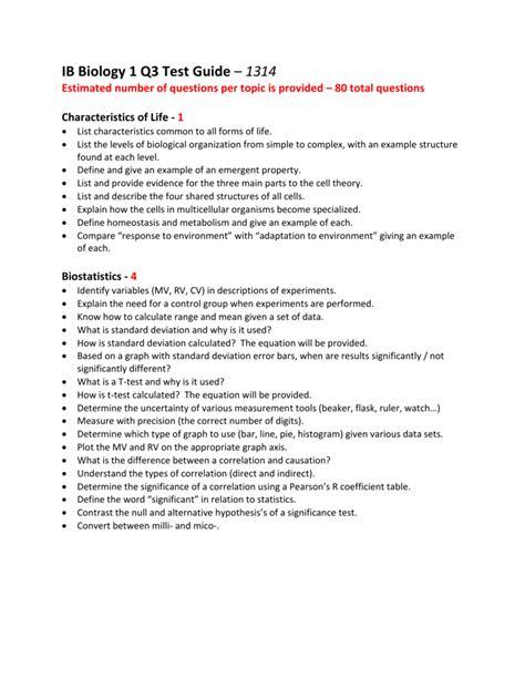 IB Biology 1 Q3 Test Guide – 1314