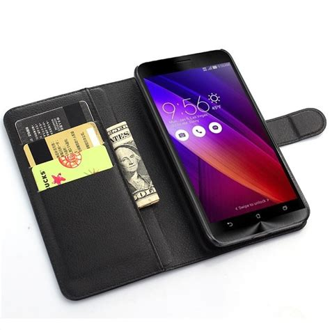 Wallet Asus Zenfone 4 5 leather wallet for asus zenfone 5 black
