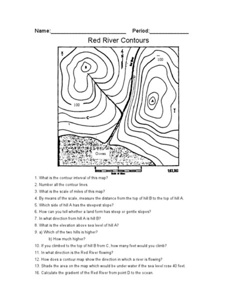 Topographic Maps Worksheet by Contour Map Worksheet Lesupercoin Printables Worksheets