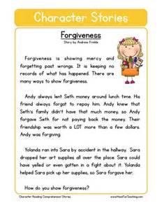 reading comprehension worksheet forgiveness