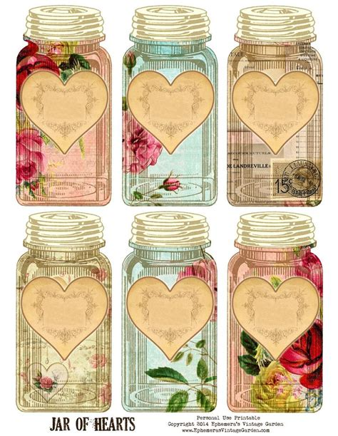 printable journal jar label ephemera s vintage garden free printable jar of hearts