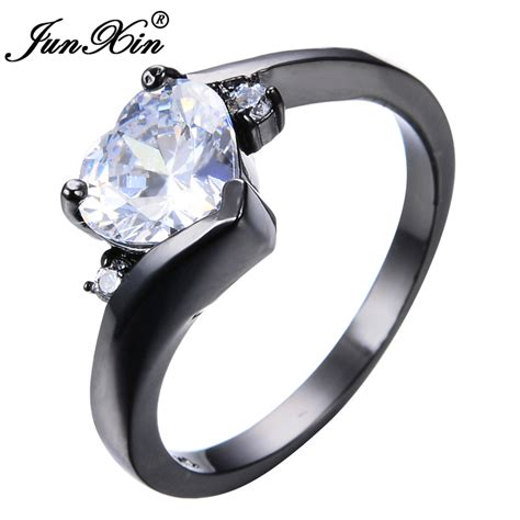 junxin female heart ring fashion style black gold filled