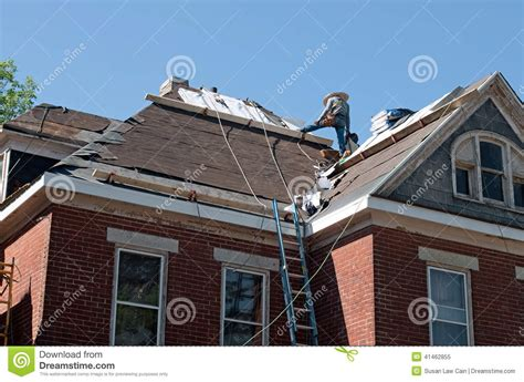 House Roof Repair Roof Repair On Historic House Stock Photo Image 41462855