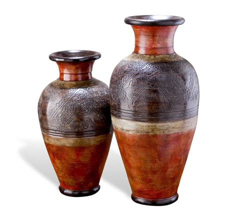 Decorative Vases by Set Of 2 Southwestern Global Rustic Large Decorative Vases