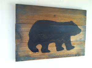 Black Bear Decor Large Rustic Black Bear On Wood Hand Painted By