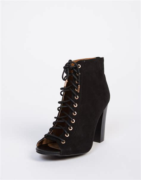 peep toe lace up booties black lace up booties black