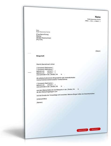 Wohnung Anfrage Brief Selbstschuldnerische Elternb 252 Rgschaft Muster Zum