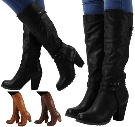 ladies long biker boots womens ladies knee high faux leather mid calf block heel