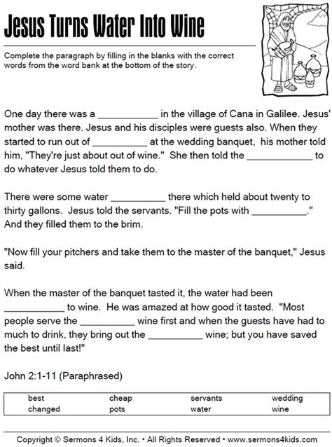 Jesus Turns Water To Wine Fill In The Blanks Quiz
