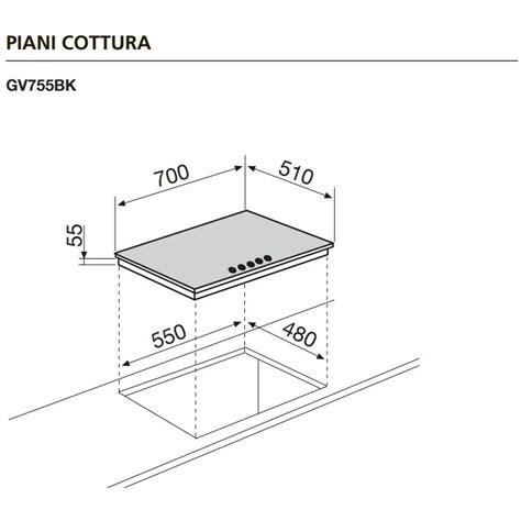 piano cottura cristallo nero glem gas gv755bk piano cottura a gas 70 cm 5 fuochi