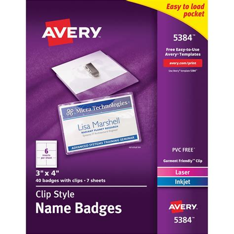 Avery Media Holder Kit Ld Products Staples Id Badge Kit Template
