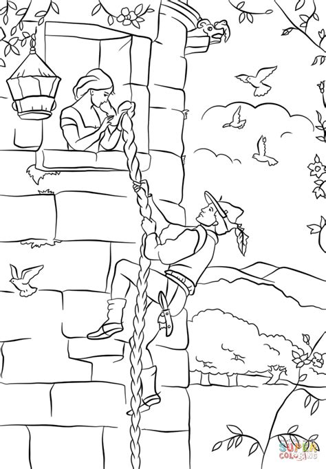 coloring page rapunzel tower prince climbs up rapunzel s tower coloring page free