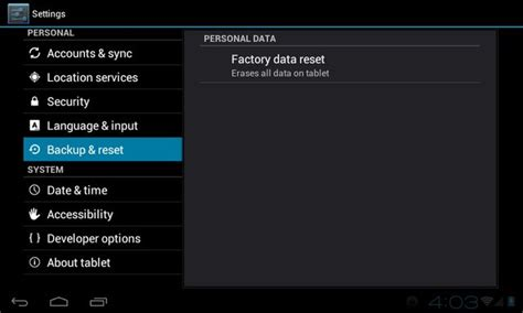 Reset Android Jelly Bean Tablet | hard reset jelly bean tablet reset android settings