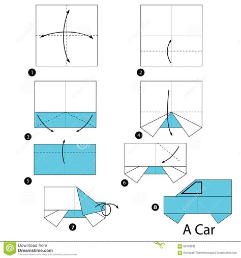 Car Origami - step by step how to make origami a car stock