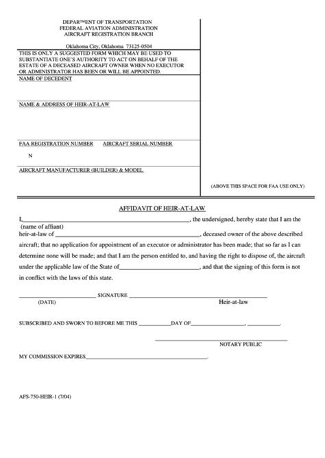 Fillable Affidavit Of Heir-At-Law printable pdf download
