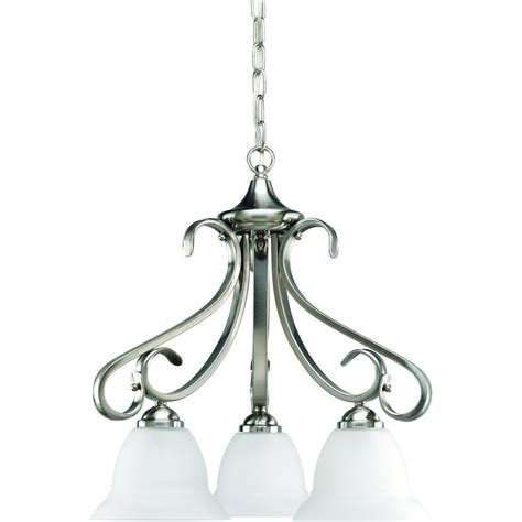 Chandelier Home Depot Progress Lighting Torino Collection 3 Light Brushed Nickel Chandelier P4405 09 The Home Depot