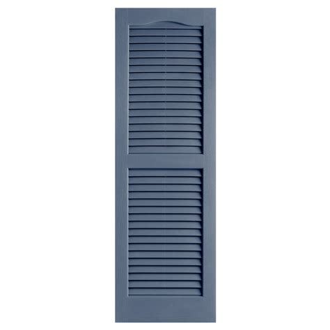 Louvered Doors Exterior Shop Alpha 2 Pack Blue Louvered Vinyl Exterior Shutters Common 14 In X 25 In Actual 13 75 In