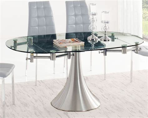Glass Top Dining Table W Extension 33 T017 Glass Top Extension Dining Tables