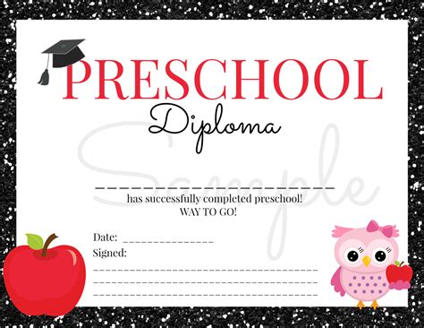 printable toddler graduation certificates instant download preschool graduation diploma for girl