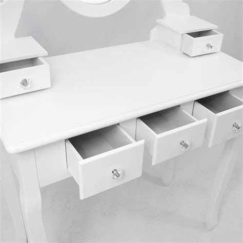 white dressing table with drawers and mirror and stool nishano dressing table 5 drawer stool white mirror bedroom