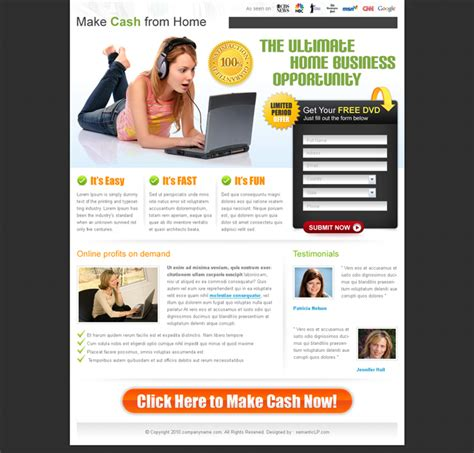 Work From Home Landing Page Dreamweaver Landing Page Templates Free
