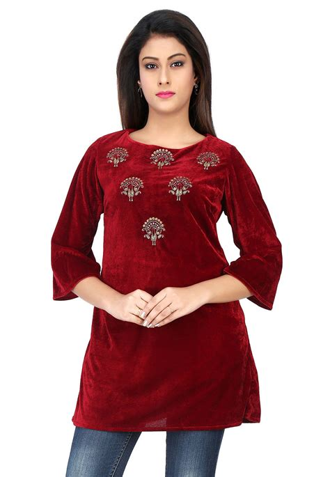 Embroidered Velvet Top embroidered velvet top in maroon thu1463
