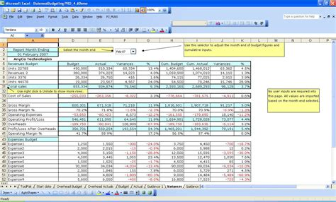 operating budget template excel formatted