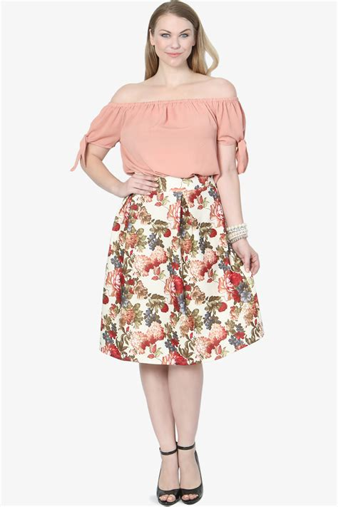 themogan s plus size floral high waist flare