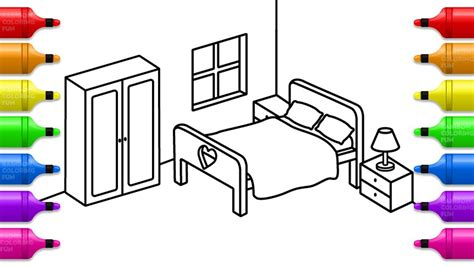 learn colors  bedroom coloring pages   draw