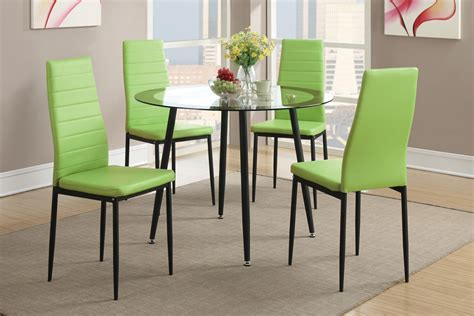 Dining Table With Green Chairs 5pc Glass Top Dining Table Set Green Chairs