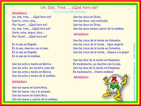 canciones infantiles cortas letra espa ol me encanta escribir en espa 241 ol canci 243 n 1 2 3 191 qu 233