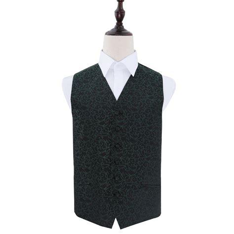 Men's Swirl Black & Green Wedding Waistcoat