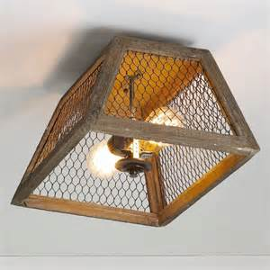 How To Make Ceiling Light Chicken Wire Shade Ceiling Light Flush Mount Ceiling Lighting By Shades Of Light