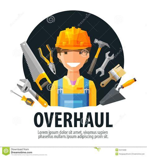 layout worker overhaul vector logo design template worker and