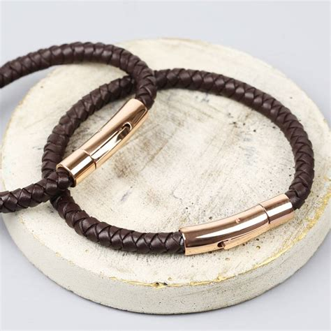 mens personalised brown leather bracelet personalised s brown leather bracelet by