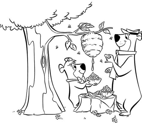honey bear coloring pages yogi bear and boo boo bear lunch with honey coloring pages