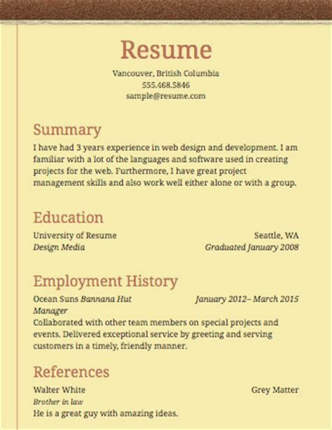 a sle template of a notepad resume