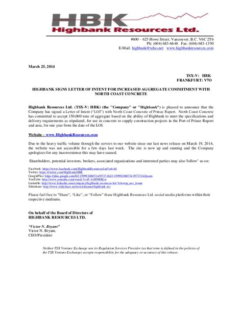 Commitment Letter Fda Philippines News Release Highbank Signs Letter Of Intent For Increased Aggregate