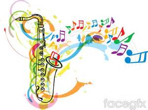 sparknotes color of water color saxophone and musical note background vector free