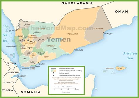 printable map of yemen yemen political map