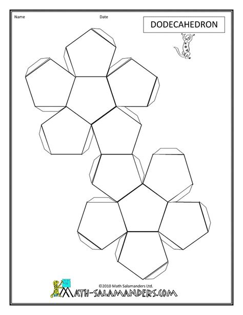 How To Make A Dodecahedron With Paper - 3d geometric shapes dodecahedron net tabs geometric