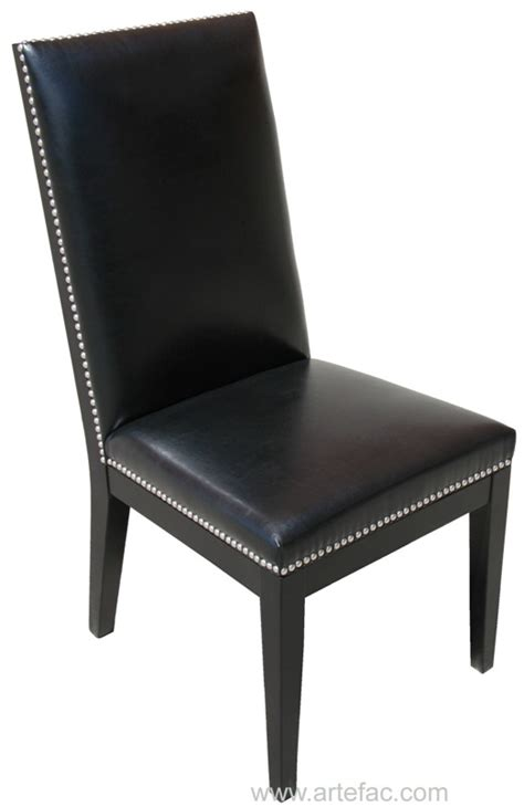 Leather Dining Chairs With Nail Heads Sr 42992 Silver Nail Leather Dining Chair In Grey