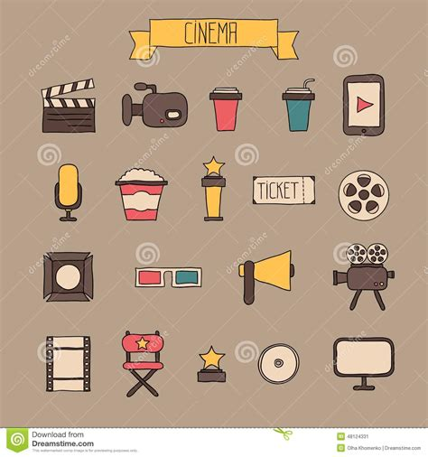 design elements icon set of movie icon design elements and cinema icons royalty