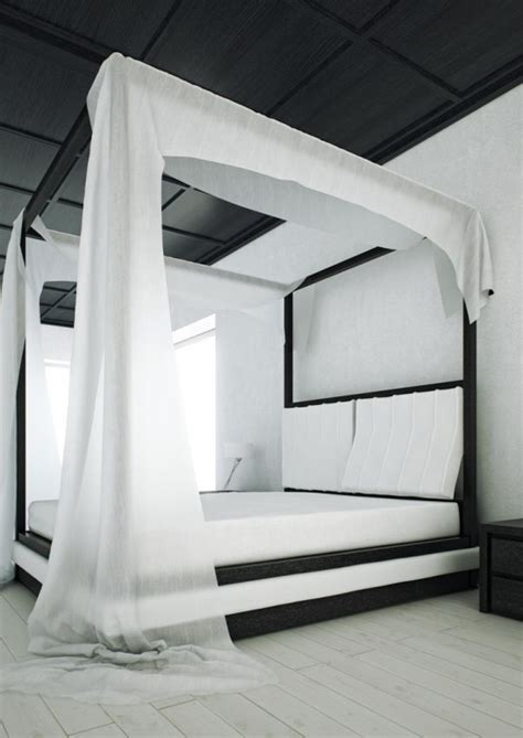 modern canopy bed for black and white bedroom archives digsdigs